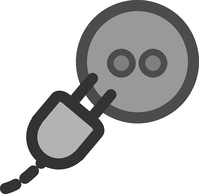 šedá zástrčka a zásuvka – obrázek